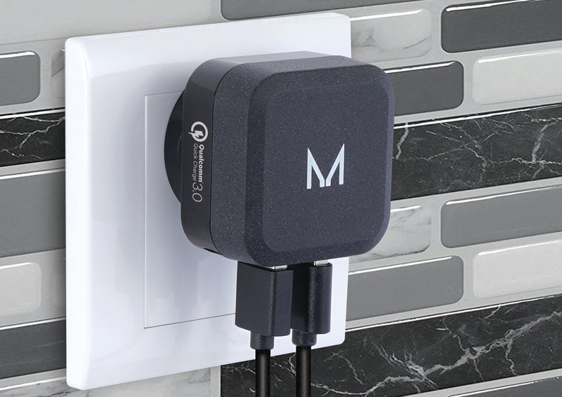 watt+ Dual 30W 2.4A Qualcomm Fast Charge Wall Charger | Textured Stone