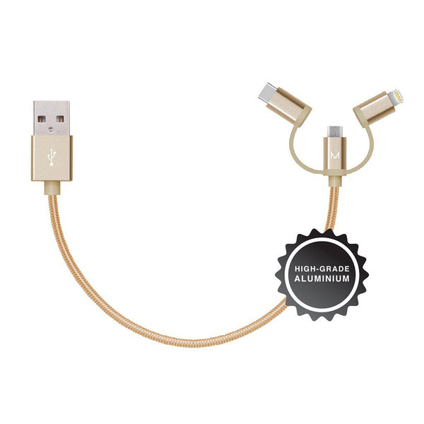 lumo 15cm aluminium 3-in-1 cable</br>dubai gold - MOYORK CO
