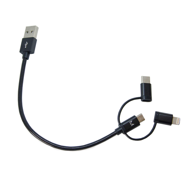 lumo 15cm aluminium 3-in-1 cable</br>raven black - MOYORK CO
