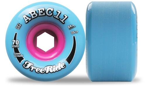 ABEC 11 Wheels Classic Freeride Stone Ground 70mm 84a Blue 4 Pack