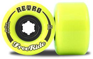 ABEC 11 Wheels Retro Freerides Reflex 72mm 83a Neon Yellow 4 Pack