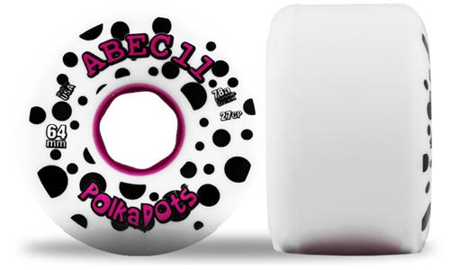 ABEC 11 Wheels Pink Polka Dots 64mm 78a White and Pink 4 Pack