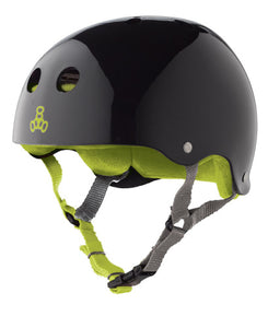 Triple 8 Skate Helmet SS Black Gloss w Green Liner