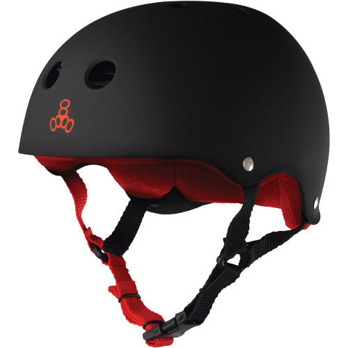 Triple 8 Skate Helmet SS Black Rubber w Red Liner