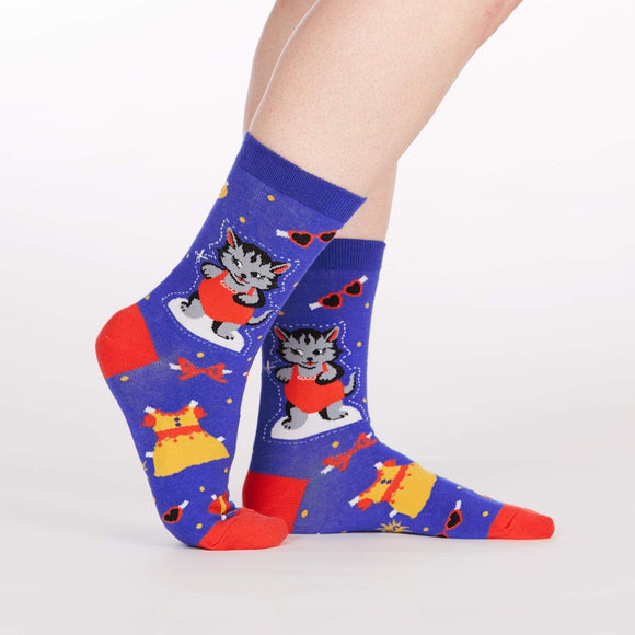Sock it to Me Dress up Meow Womens Crew Socks