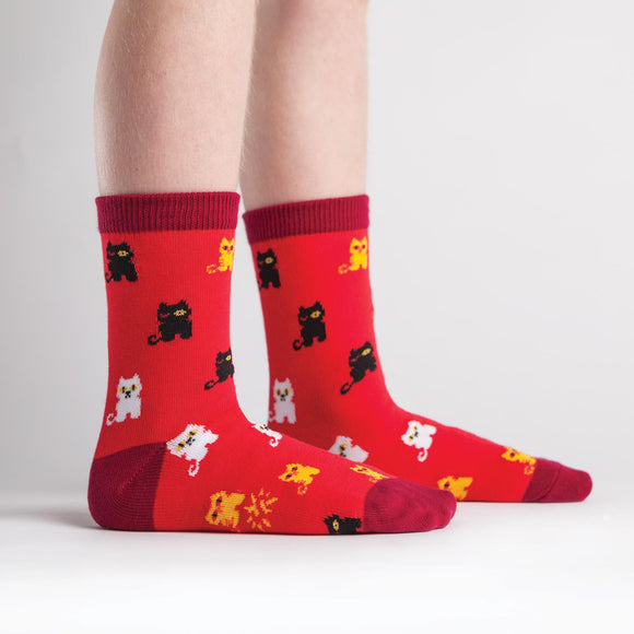 Sock it to Me Winking Cat Junior Crew Socks