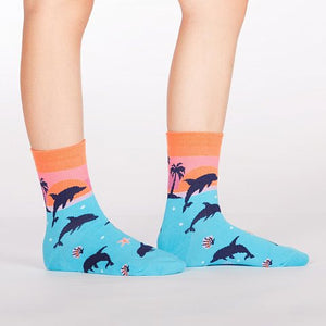 Sock it to Me Dancing Dolphins Junior Crew Socks