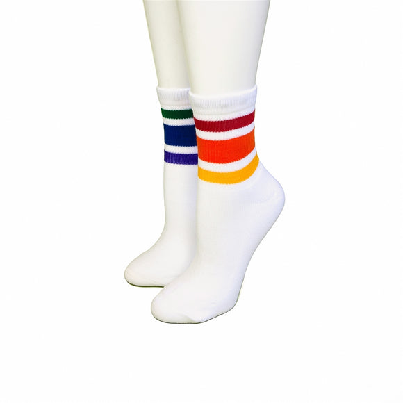 Pride Courage Low Cut Tube Socks White w Rainbow