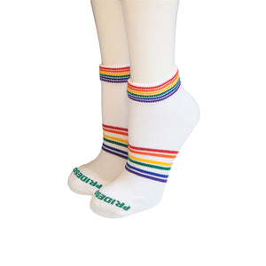 Pride Mighty Ankle Socks White w Rainbow
