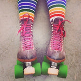 "Pride Freedom 22""  Tube Socks White w Rainbow Knee High"