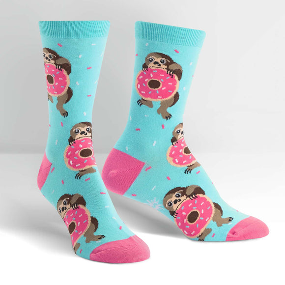 Sock it to Me Snackin' Sloth Womens Crew Socks