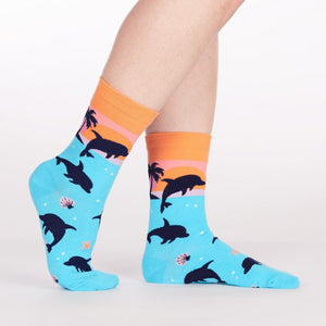 Sock it to Me Dancing Dolphins Womens Crew Socks