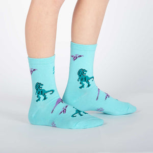 Sock it to Me Land of the Dino Youth Crew Socks