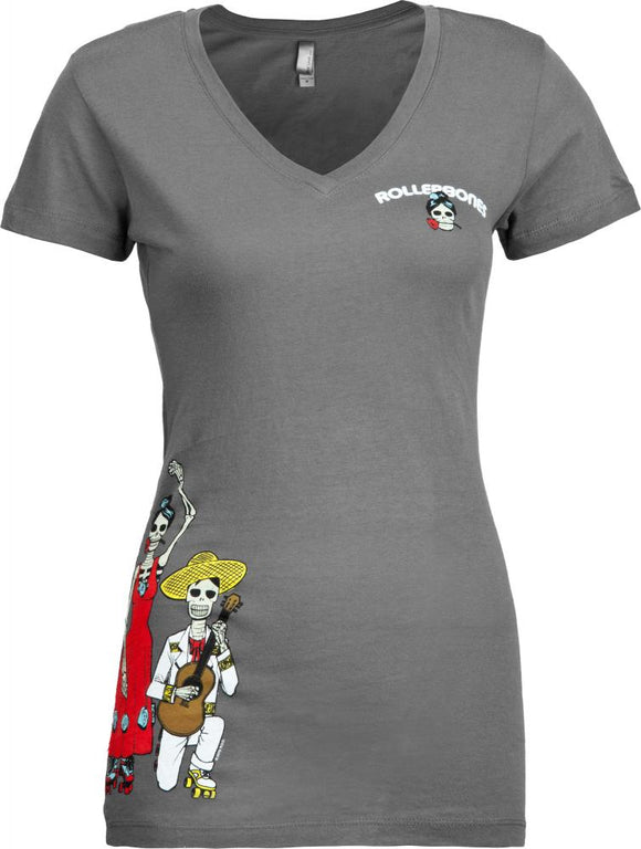 Bones Womens T-shirt Day of the Dead Dancing Grey