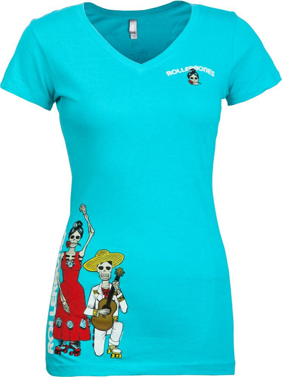 Bones Womens T-shirt Day of the Dead Dancing  Turquoise