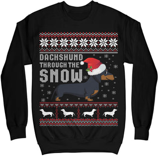 Dachshund Through The Snow Ugly Christmas Sweater Shirt - Noel Merry Xmas Sweatshirt Hoodie
