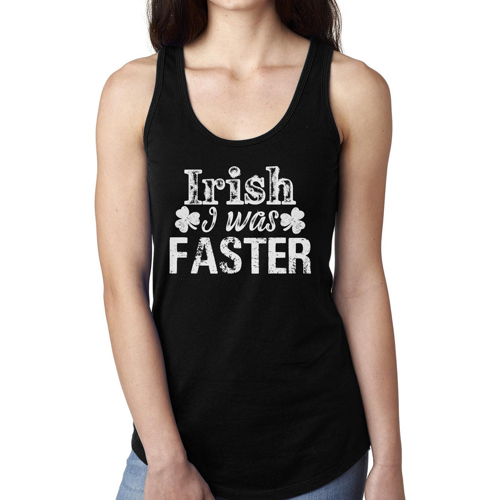 46b2d70a Irish I Was Faster - Funny Running St Patricks Day Tank Top Shirt for Women