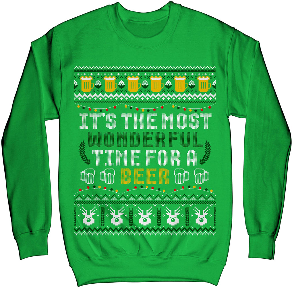 It's The Most Wonderful Time For A Beer Ugly Sweater Shirt - Noel Merry Xmas Sweatshirt