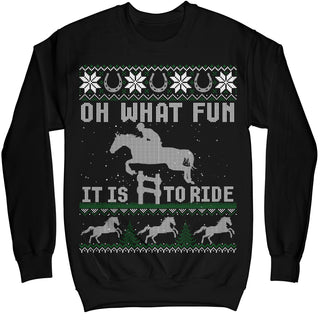 Oh What Fun It Is To Ride Horse Ugly Christmas Sweater Shirt MIKAPPAREL