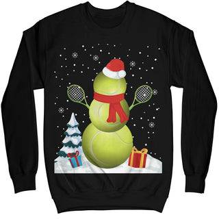 Tennis Snowman Christmas Ugly Sweater Shirt - Noel Merry Xmas Sweatshirt Hoodie