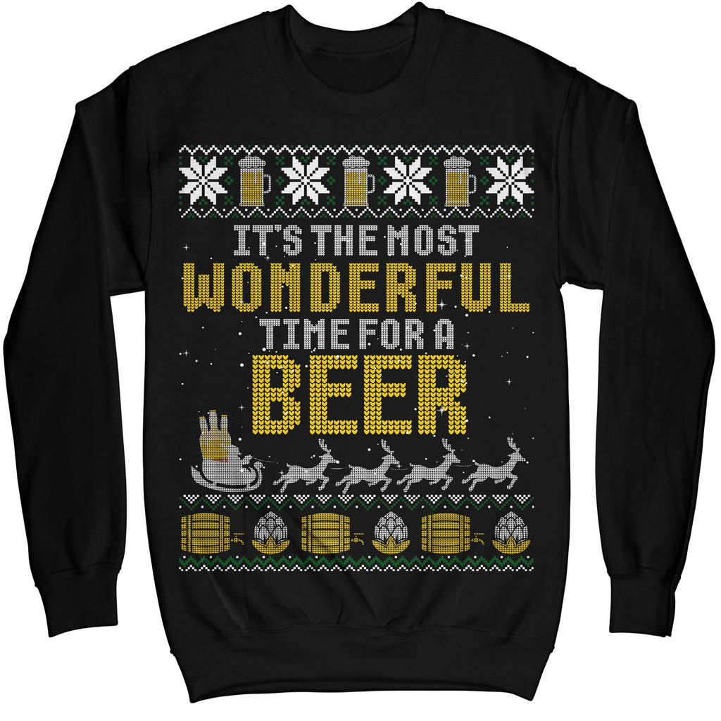 It's The Most Wonderful Time For A Beer Ugly Christmas Sweater Shirt - Noel Merry Xmas Sweatshirt Hoodie