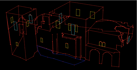 3D vector models of each building was created in AutoCAD.