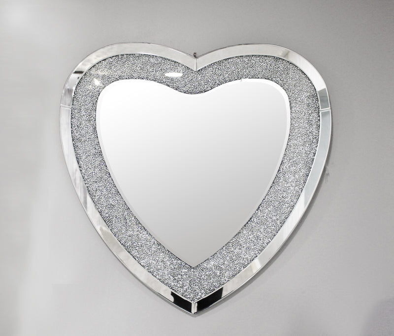 Crackle Heart Mirror