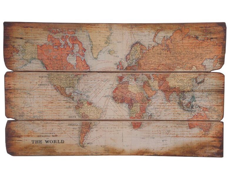 Wooden Plaque World Map