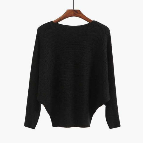 Batwing Sleeves Loose Cashmere Sweater Shirt Black / One Size Sweater