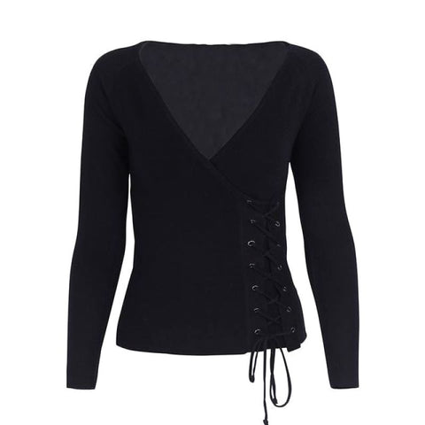 Causal Lace Up Knitted Sweater Black / S