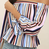 Colorful Stripe Peplum Blouse