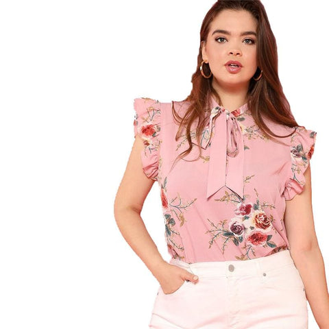 Fashion Floral Ruffle Sleeve Blouse