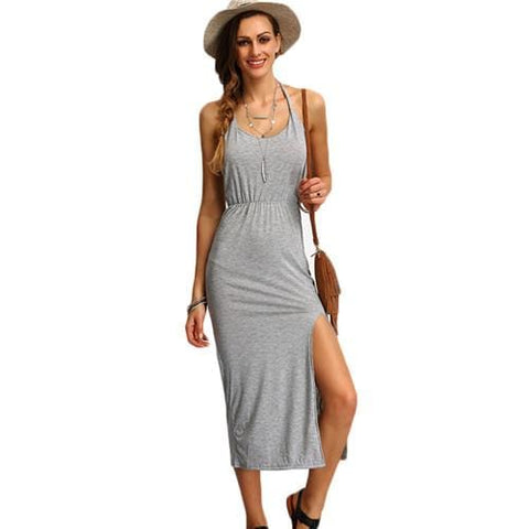 Fashion Halter Side Split Maxi Dress Gray / S