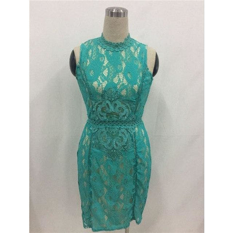 Fashion Lace Bodycon Dress Green / S