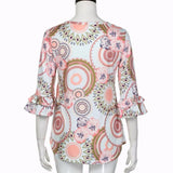 Flare Sleeve O Neck Floral Blouse