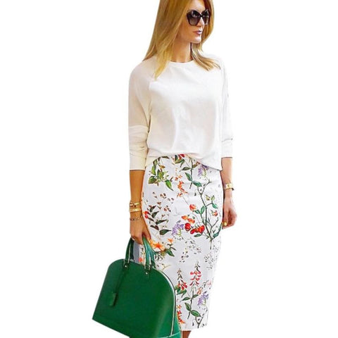 Floral Mid-Calf Pencil Skirt High Waist White / L