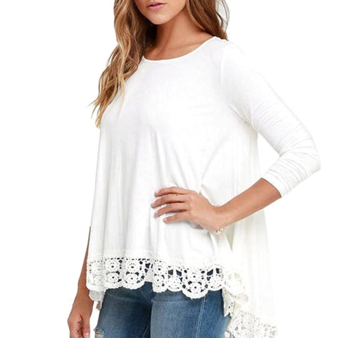 Long Sleeve Casual Lace Blouse White / S Top