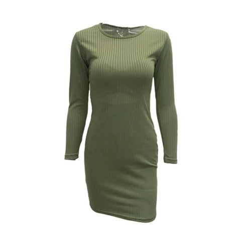 Long Sleeve O Neck Bodycon Pencil Dress Army Green / L