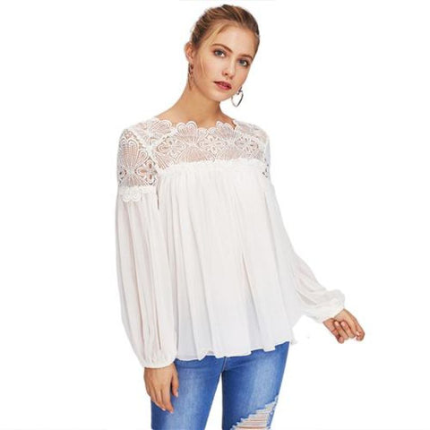 Long Sleeve White Lace Elegant Blouse / S