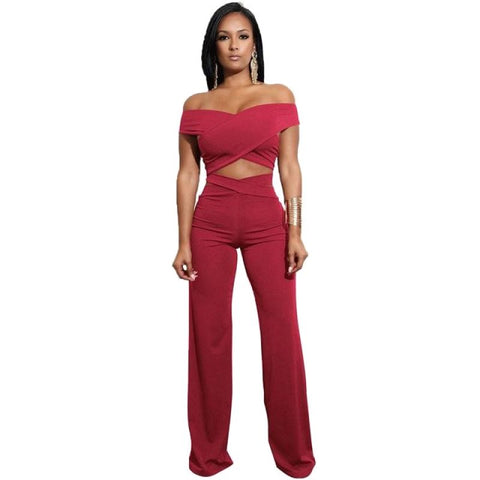 Off Shoulder Bandage Two Piece Red / S