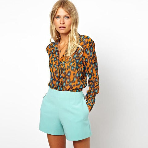 Orange Leopard Print Chiffon Blouse Blouse