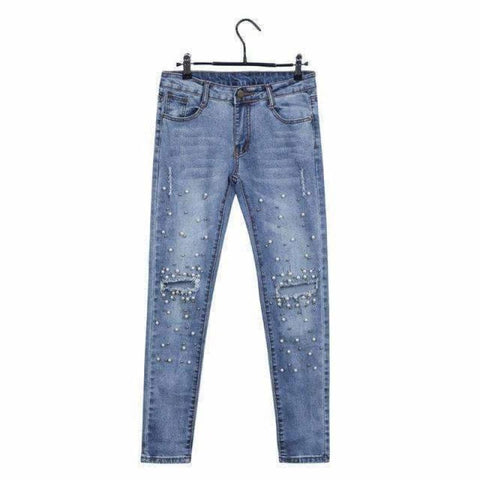 Pearl Skinny Pencil Jean Pants Blue / 26