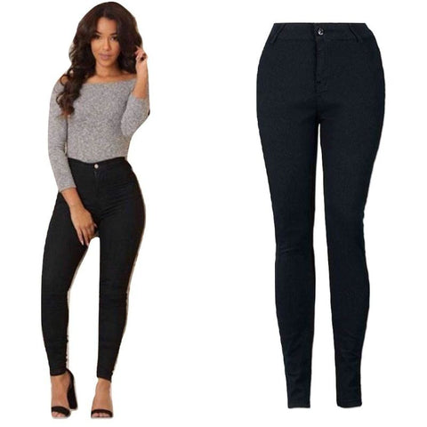 Pencil Stretch Casual Denim Skinny Jeans High Waist Bottom
