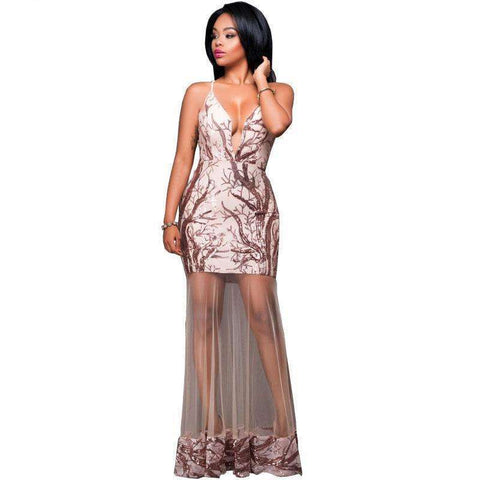 Fashion Sequined Evening Dress - Abi'sdress
