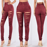 Red High Waist Stretch Pants Jeans