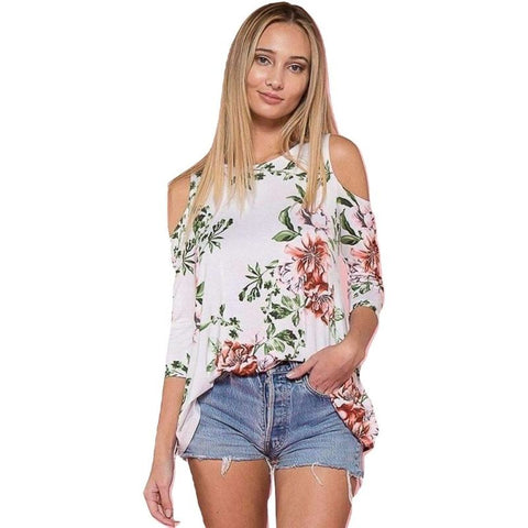Sexy Cold Shoulder Floral Printed Blouse