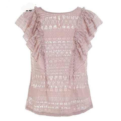 Sexy Ruffle Lace Blouse Light Pink / S Top