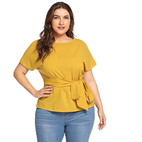 Womens Fashion Belted Short Sleeve Plus Size Blouse