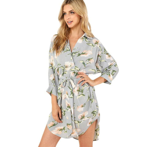 Womens Fashion Boho Belted Floral Mini Dress