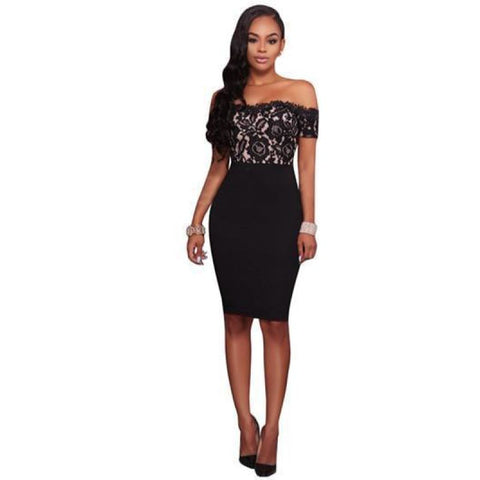 Womens Fashion Lace Bodycon Dress